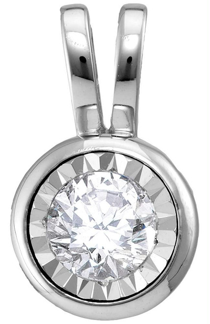 10kt White Gold Womens Round Diamond Solitaire Pendant 1/4 Cttw