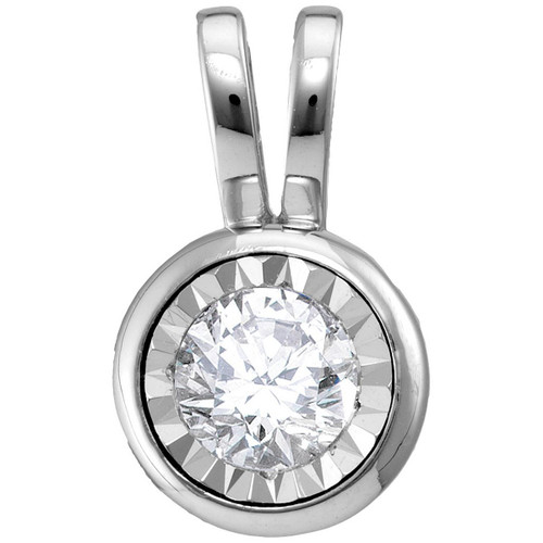 10kt White Gold Womens Round Diamond Solitaire Faceted Framed Pendant 1/12 Cttw