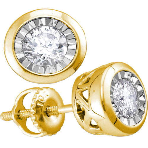10kt Yellow Gold Womens Round Diamond Solitaire Illusion-set Stud Earrings 1/10 Cttw