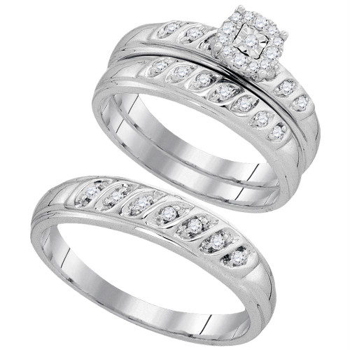 10kt White Gold His & Hers Round Diamond Cluster Matching Bridal Wedding Ring Band Set 1/3 Cttw - 93867-10.5