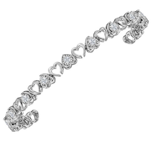 Sterling Silver Womens Round Diamond Heart Love Tennis Bracelet 1.00 Cttw