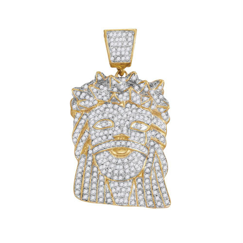 10k Yellow Gold Mens Diamond Jesus Christ Messiah Christian Charm Pendant 1-3/4 Cttw