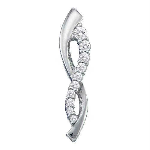 10kt White Gold Womens Round Diamond Vertical Journey Infinity Pendant 1/4 Cttw