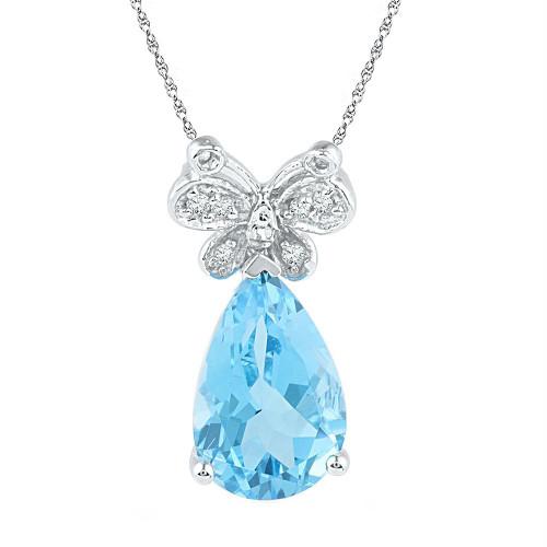 Sterling Silver Womens Pear Lab-Created Blue Topaz Teardrop Butterfly Pendant 1/20 Cttw