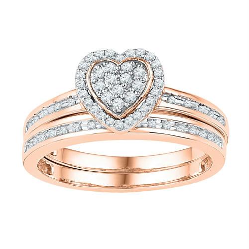 10kt Rose Gold Womens Round Diamond Heart Bridal Wedding Engagement Ring Band Set 1/4 Cttw
