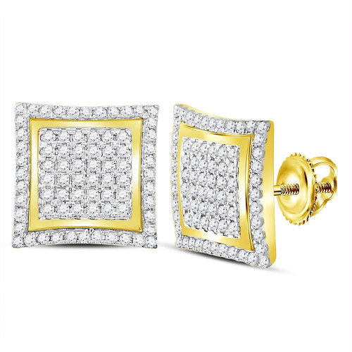 10kt Yellow Gold Mens Round Diamond Square Kite Cluster Stud Earrings 1.00 Cttw