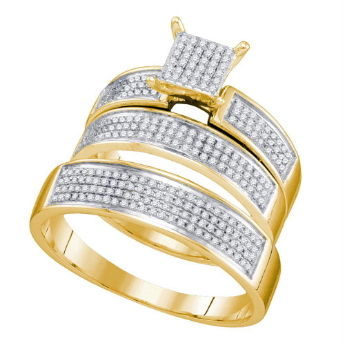 10kt Yellow Gold His & Hers Round Diamond Cluster Matching Bridal Wedding Ring Band Set 1/2 Cttw - 67449-10
