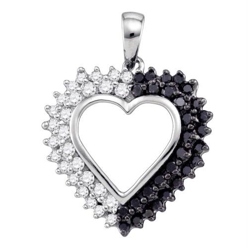 10k White Gold Womens Black Color Enhanced Diamond Heart Love Anniversary Pendant 1/2 Cttw