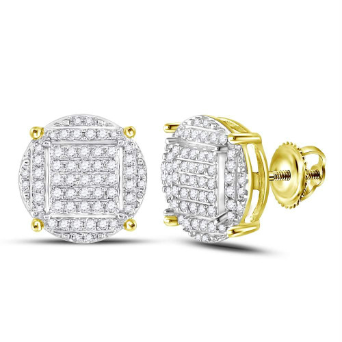 10kt Yellow Gold Mens Round Diamond Circle Cluster Stud Earrings 5/8 Cttw - 96903