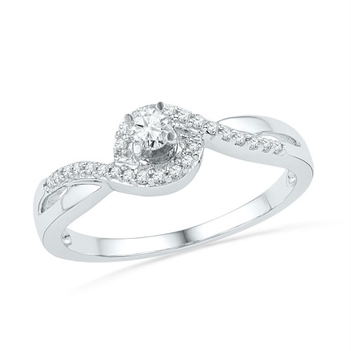 10kt White Gold Womens Round Diamond Solitaire Swirl Promise Bridal Ring 1/5 Cttw - 100749-5