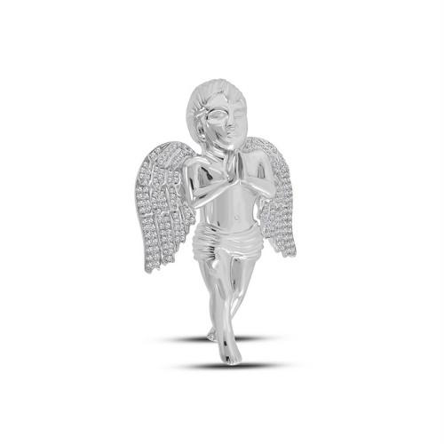 10kt White Gold Mens Round Diamond Angel Charm Pendant 1-1/4 Cttw
