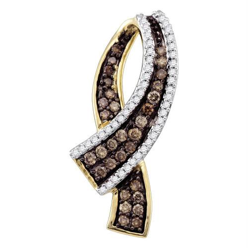 10k Yellow Gold Cognac-brown Color Enhanced Round Pave-set Diamond Womens Ribbon Pendant 1/2 Cttw - 72339