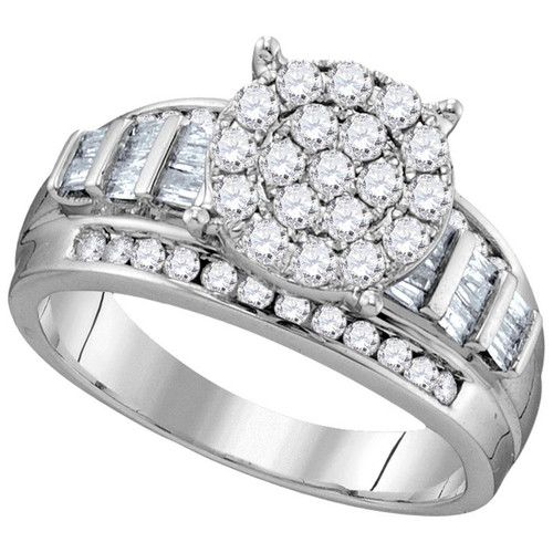 10kt White Gold Womens Round Diamond Cindys Dream Cluster Bridal Wedding Engagement Ring 1.00 Cttw - Size 10