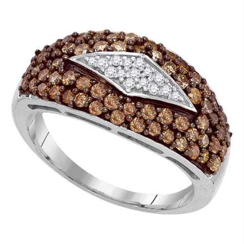 10kt White Gold Womens Round Brown Color Enhanced Diamond Band Ring 1.00 Cttw