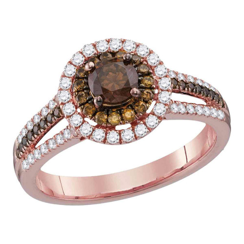 14kt Rose Gold Womens Round Brown Diamond Solitaire Halo Bridal Wedding Engagement Ring 1.00 Cttw