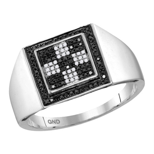 10kt White Gold Mens Round Black Color Enhanced Diamond Checkered Square Cluster Ring 1/4 Cttw