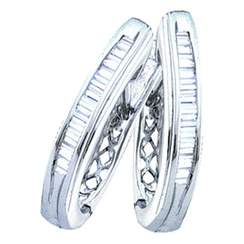 Sterling Silver Baguette Diamond Channel-set Womens Oblong Hoop Earrings 1/4 Cttw