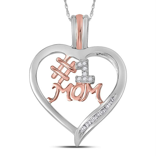 Sterling Silver Womens Round Diamond Rose-tone #1 Mom Mother Heart Pendant 1/10 Cttw