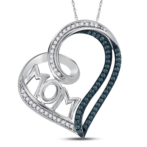 Sterling Silver Womens Round Color Enhanced Blue Diamond Mom Heart Pendant 1/5 Cttw