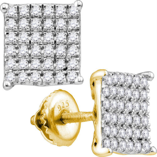 10kt Yellow Gold Womens Round Diamond Square Cluster Stud Earrings 1/2 Cttw - 113157