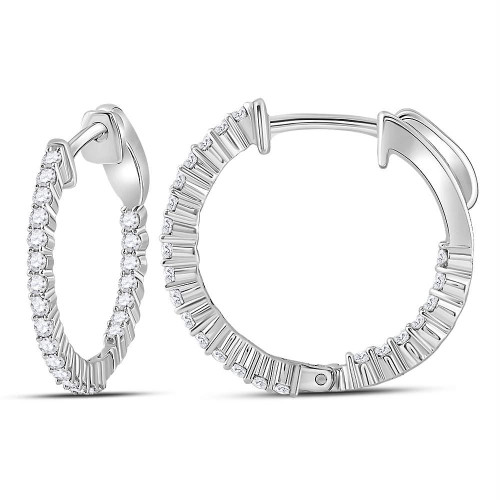 10kt White Gold Womens Round Diamond Single Row Hoop Earrings 1/2 Cttw - 113133