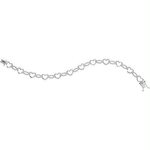 Sterling Silver Womens Round Diamond Heart Outline Link Bracelet 1/12 Cttw