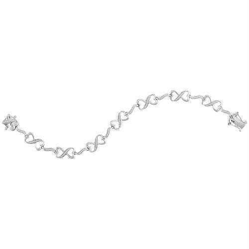 Sterling Silver Womens Round Diamond Infinity Tennis Bracelet 1/4 Cttw