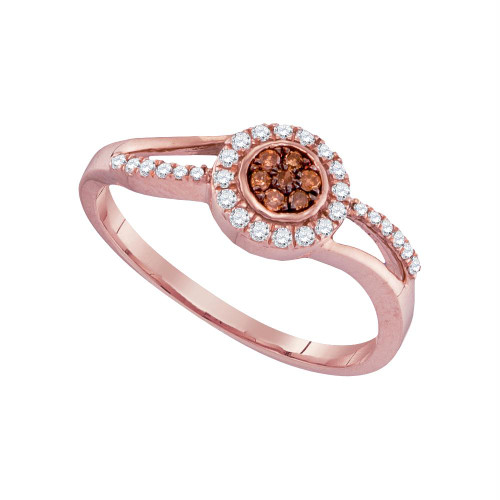 10kt Rose Gold Womens Round Brown Color Enhanced Diamond Flower Cluster Ring 1/4 Cttw