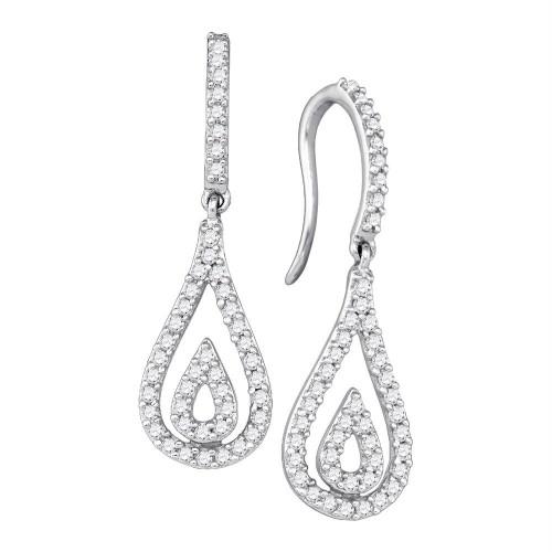 10kt White Gold Womens Round Diamond Teardrop Dangle Earrings 1/2 Cttw - 72463