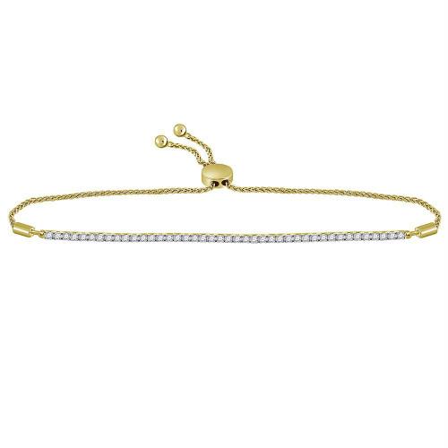 14kt Yellow Gold Womens Round Diamond Bolo Bracelet 1.00 Cttw
