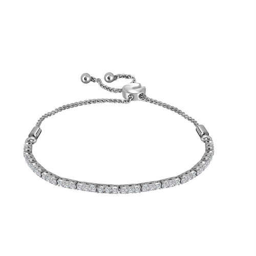 14kt White Gold Womens Round Diamond Bolo Bracelet 1.00 Cttw