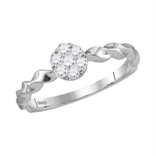 10kt White Gold Womens Round Diamond Flower Cluster Stackable Band Ring 1/4 Cttw