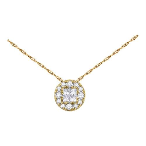 14kt Yellow Gold Womens Princess Round Diamond Soleil Cluster Pendant 1/4 Cttw