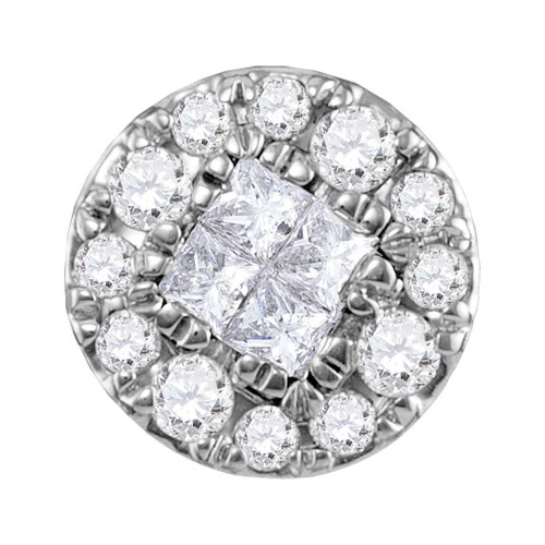 14kt White Gold Womens Princess Round Diamond Soleil Cluster Pendant 1/4 Cttw - 117889
