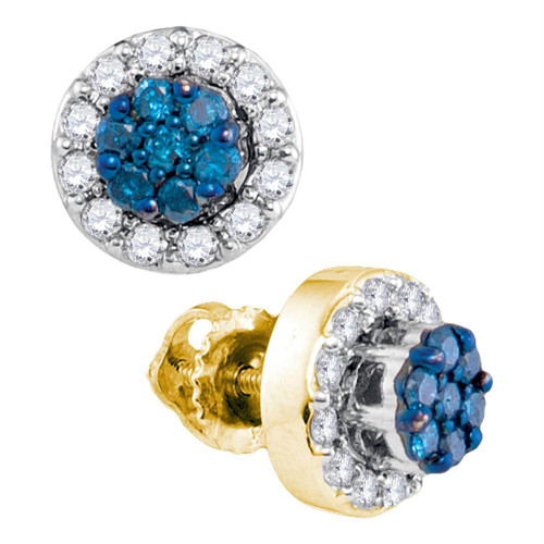 10kt Yellow Gold Womens Round Blue Color Enhanced Diamond Flower Cluster Earrings 1/2 Cttw