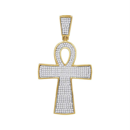 10kt Yellow Gold Mens Round Diamond Ankh Cross Religious Charm Pendant 3/4 Cttw