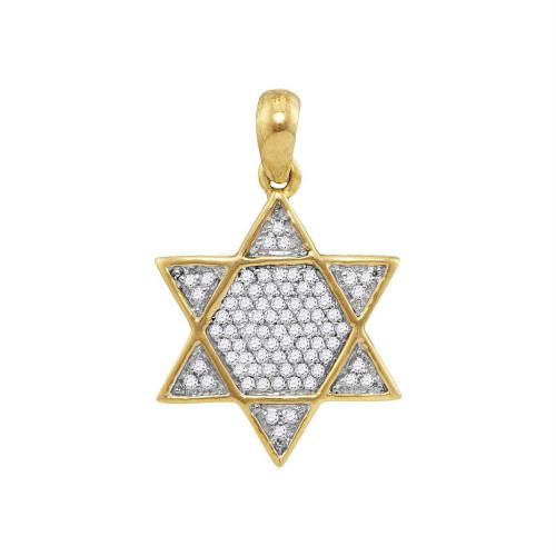 10kt Yellow Gold Mens Round Diamond 6-Point Star Magen David Charm Pendant 1/5 Cttw
