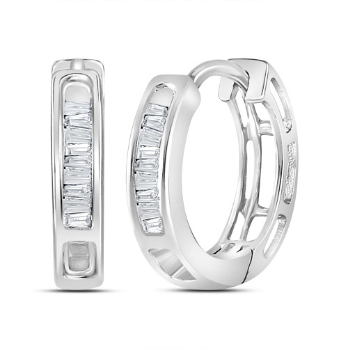 10kt White Gold Womens Baguette Diamond Huggie Hoop Earrings 1/6 Cttw