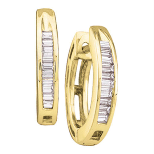 10kt Yellow Gold Womens Baguette Diamond Huggie Hoop Earrings 1/6 Cttw