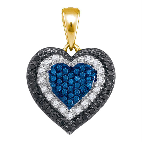 10kt Yellow Gold Womens Round Blue Color Enhanced Diamond Layered Heart Pendant 1/4 Cttw