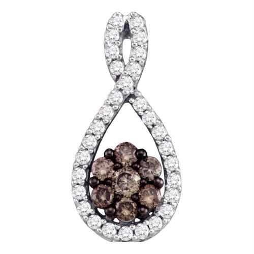 10kt White Gold Womens Round Cognac-brown Color Enhanced Diamond Cluster Pendant 3/8 Cttw