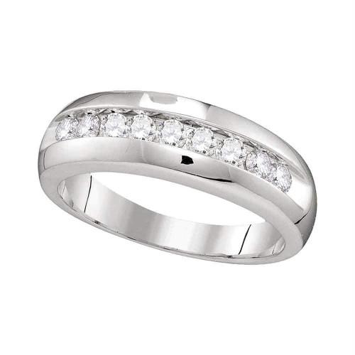 10kt White Gold Mens Round Diamond Single Row Wedding Anniversary Band Ring 1/2 Cttw