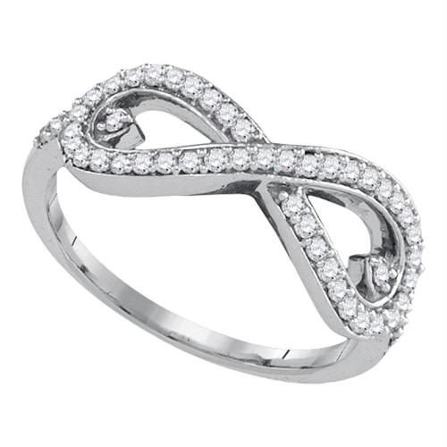 10kt White Gold Womens Round Diamond Infinity Fashion Ring 1/3 Cttw
