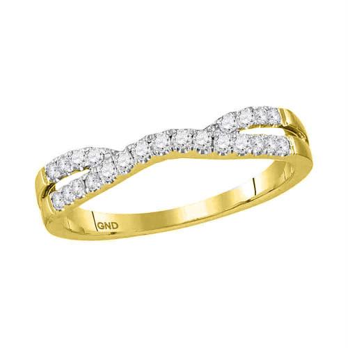 14kt Yellow Gold Womens Round Diamond Contour Enhancer Wedding Band 1/4 Cttw