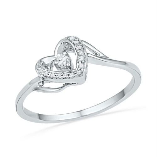 10kt White Gold Womens Round Diamond Heart Love Promise Bridal Ring 1/12 Cttw
