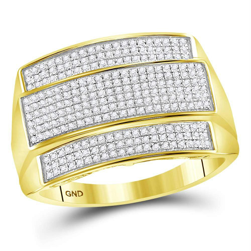 10kt Yellow Gold Mens Round Diamond Rectangle Cluster Ring 3/8 Cttw