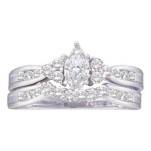 14kt White Gold Womens Marquise Diamond Bridal Wedding Engagement Ring Band Set 1/2 Cttw - 21871-7.5