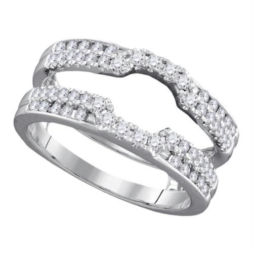 14kt White Gold Womens Round Diamond Wrap Ring Guard Enhancer Wedding Band 1/2 Cttw