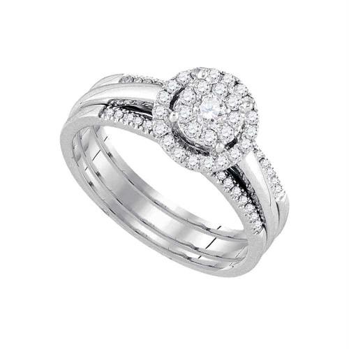 14kt White Gold Womens Round Diamond Bridal Wedding Engagement Ring Band Set 1/2 Cttw - 92824-6.5