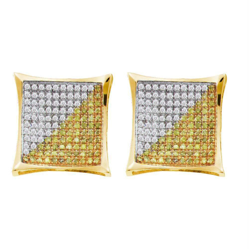 10kt Yellow Gold Mens Round Yellow Color Enhanced Diamond Square Kite Cluster Screwback Earrings 1/2 Cttw
